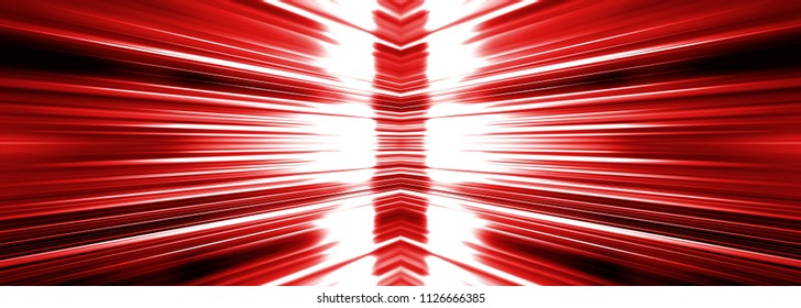 Radiating white light burst banner panoramic on a red background