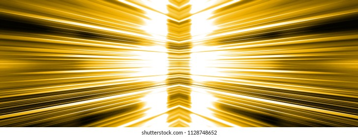 Radiating white light burst banner panoramic on a yellow background