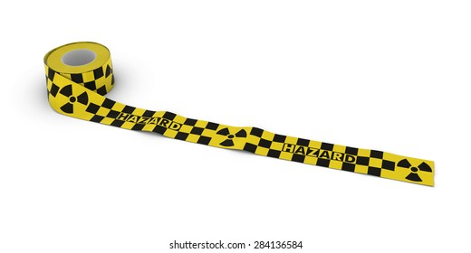 Radiation Hazard Tape Roll unrolled across white floor