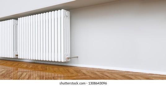 radiator heater in empty apartment - 3d rendering