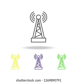 Radio antenna multicolored icons. Element of journalism for mobile concept and web apps illustration. Can be used for web, logo, mobile app, UI, UX