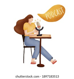 Radio host with table flat illustration. Media hosting doodle drawing. Female podcaster holding nameplate with podcast inscription, broadcaster at workspace isolated cartoon character