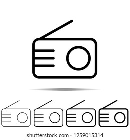 Radio icon in different shapes, thickness. Simple outline illustration of web for UI and UX, website or mobile application