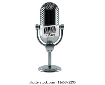 Radio microphone with barcode sticker isolated on white background. 3d illustration