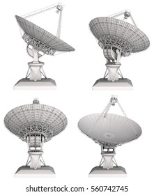 Radio telescope 3d image set. Isolated on white