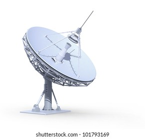 radio telescope isolated on white background, 3d render, work path included