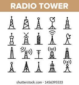Radio Towers And Masts Linear Icons Set. Radio Communication Tower, Transmitter, Antenna Outline Symbols Pack. Modern Wireless Technology, Telecommunication Isolated Contour Illustration