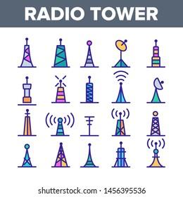 Radio Towers And Masts Linear Icons Set. Radio Communication Tower, Transmitter, Antenna Outline Symbols Pack. Modern Wireless Technology, Telecommunication Isolated Contour Illustration
