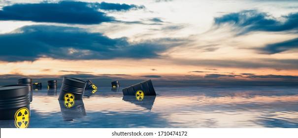 Radioactive barrel in the ocean 3D render 3D illustration