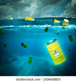 radioactive barrels abandoned in the middle of the sea sink into the ocean. concept of environmental disaster. 3d render image.