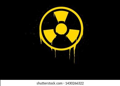 Radioactive warning sign yellow circle. The radioactivity symbol is a warning.