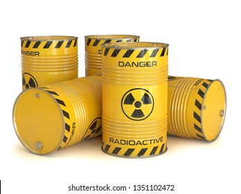 Radioactive waste yellow barrels with radioactive symbol 3d rendering