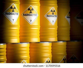 radioactive yellow barrel 3d rendering image