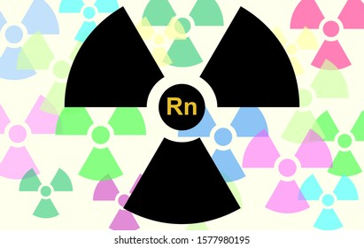 Radioactivity logo in black with the Radon symbol and back in soft pastel tones. A contaminant that affects indoor air quality worldwide. Illustration to background radiation. Noble gas.