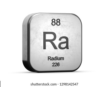 Radium element from the periodic table series. Metallic icon set 3D rendered on white background