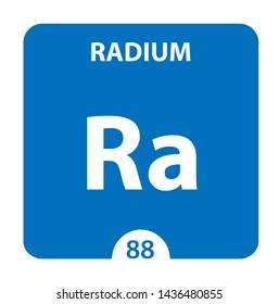 Radium Ra chemical element. Radium Sign with atomic number. Chemical 88 element of periodic table. Periodic Table of the Elements with atomic number, weight and Radium symbol. Laboratory and science