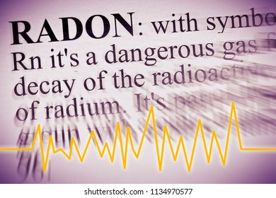 Radon gas the silent killer - concept image with check-up chart about radon contamination and definition of radon gas