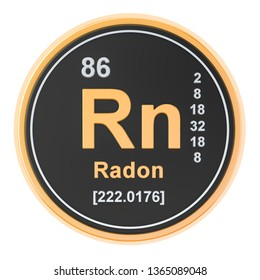 Radon Rn chemical element. 3D rendering isolated on white background