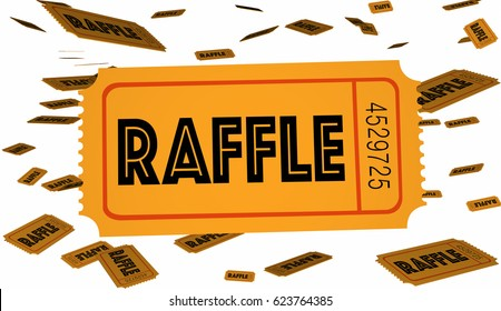 Raffle Tickets Contest Enter Now Win Big 3d Illustration