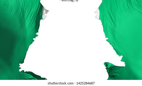 Ragged Abuja, capital of Nigeria flag, white background, 3d rendering