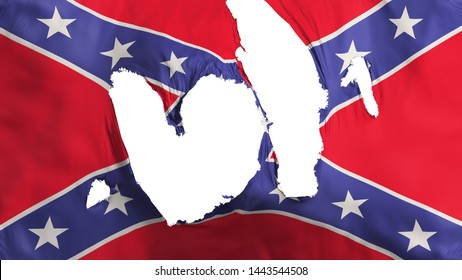 Ragged Confederate flag, white background, 3d rendering