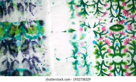Ragged Fragment. Abstract Grunge picture. Watercolor Blur Fabric. Ikat Print. Elegant Aquarelle print. Violet, Magenta, light, Yellow. Dirty Contrast Decor.