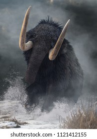 A raging mammoth charges at you. Crashing through the ice age snow, this pleistocene beast raises its huge tusks as it lunges forward. 3D Rendering