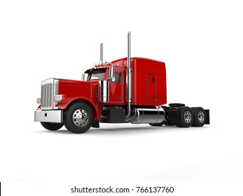 Raging red classic 18 wheeler big truck - beauty shot - 3D Illustration