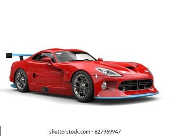 Raging red modern superacar with cool blue details - studio shot - 3D Illustration