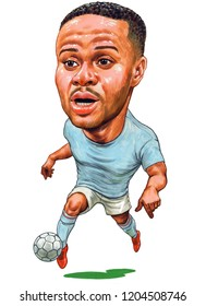 Raheem Shaquille Sterling is an English professional footballer. Illustration,Caricature,Design,October,18,2018