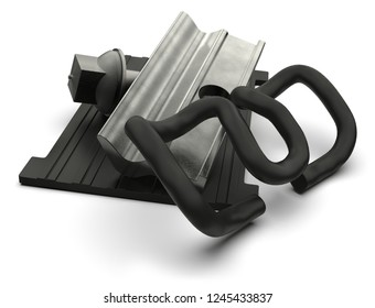Rail fasteners isolated on white. 3D rendering