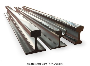 Rail profile isolated on white. 3D rendering
