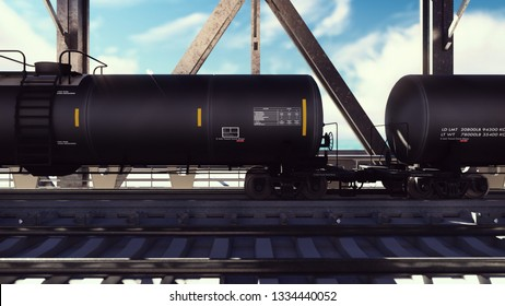 Rail tank cars with oil on the rails at sunrise. Train transportation of tankers. The container of the liquid fuel oil. Heavy industry, trade, transport. 3D Rendering