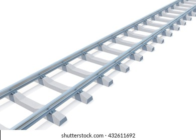 Railroad going into the distance isolated on white background. Road to nowhere. 3d illustration.