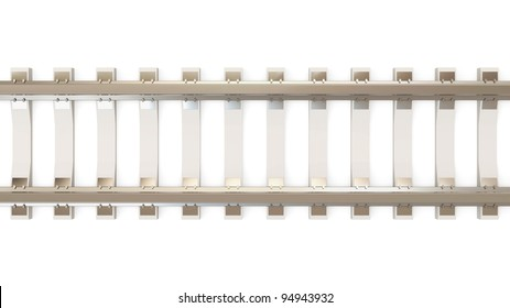 Railroad isolated on white background (Top View)