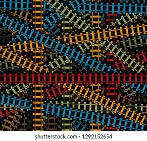 Railroad texture, intersected railroad tracs, railway colored pattern, rail road isolated background.