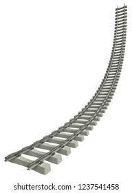 Rails with concrete sleepers isolated on white. 3d rendering