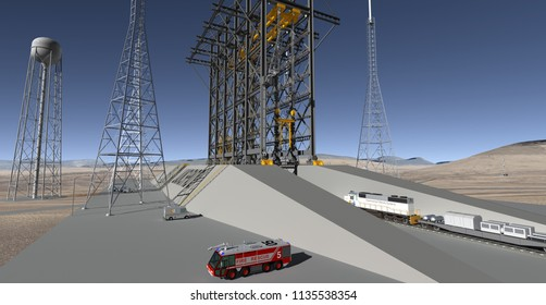 Railway Delivery of Launch Vehicle - 3D Illustration