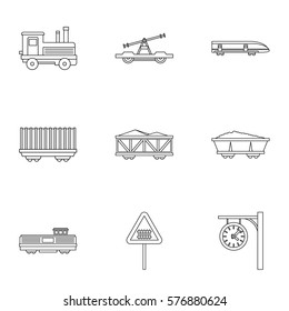 Railway icons set. Outline illustration of 9 railway  icons for web