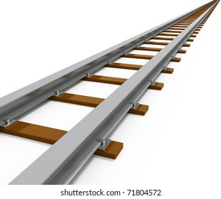 Railway Isolated on white - 3d illustration