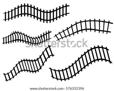 Railway Railroad Track Silhouettes Black Distorted Stock