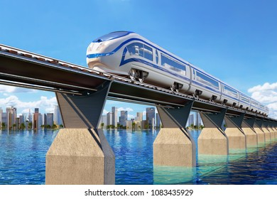 Railway transport concept, high speed modern train on the railroad bridge through the water landscape and the city on the horizon, 3d illustration