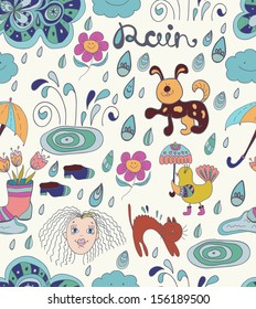 Rain cartoon Seamless background with funny elements, illustration with flowers, animals, drops and woman face