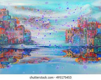 Rain in the city near the sea