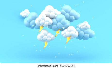 Rain clouds and lightning on the blue background.-3d render.