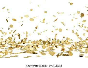 Lluvia de las Monedas de Oro.Monedas de oro en caída aisladas de fondo blanco