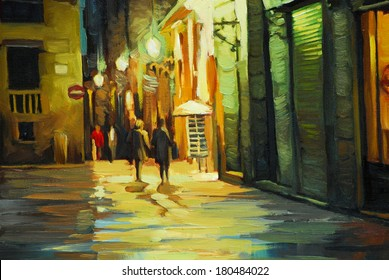 rain in gothic quarter of barcelona, painting by oil, illustration