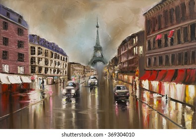 Rain in Paris, evening. Wet streets, headlights and people's silhouettes. Original oil painting, stretched canvas.