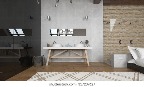 Rain shower in modern master bedroom - 3 D render using 3 d s Max