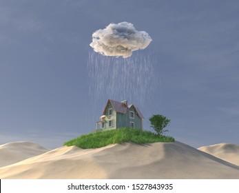 lluvia regó la casa y el verde césped en el desierto, 3d ilustración